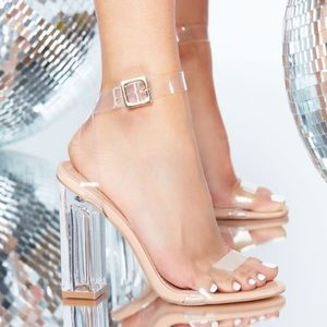 Fashion Nova clear strappy heals
